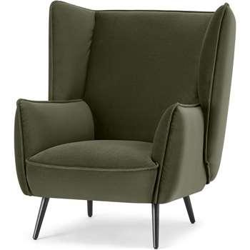 Linden Accent Armchair, Pistachio Green Velvet (H95 x W86 x D93cm)
