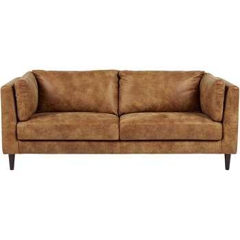 Lindon 3 Seater Sofa, Outback Tan Leather (70 x 204cm)