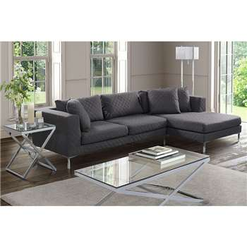 Linear Right Hand Corner Sofa Quilted Grey (66 x 280cm)