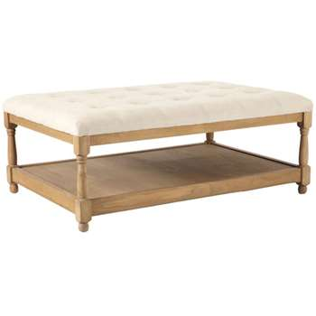 Linen and Weathered Oak Portman Ottoman - Cream/Natural (H42 x W110 x D75cm)