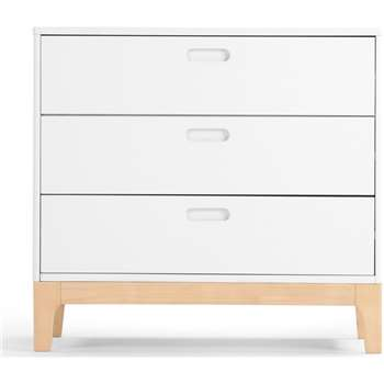 Linus Chest of Drawers, Pine and White (H79 x W85 x D40cm)
