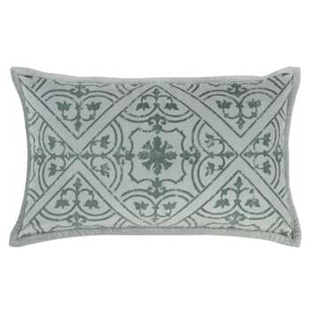 LIRDE - Ecru and Blue Cotton Cushion Cover with Graphic Print (H30 x W50cm)
