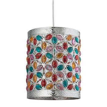 Lively Pendant Light Shade Antique Silver/Multi (H24.5 x W19.5 x D19.5cm)