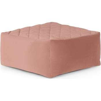 Loa Quilted Floor Cushion, Blush Pink Velvet (H30 x W60 x D60cm)