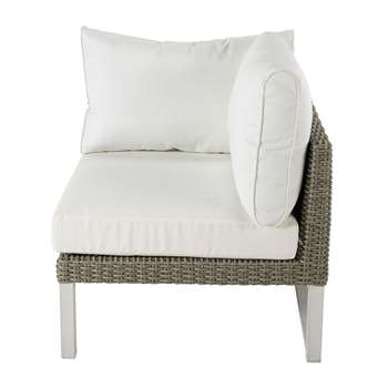 LODGE Right armrest garden sofa unit in white wicker (86 x 77cm)