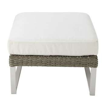 LODGE Wicker and white fabric garden pouffe (32 x 69cm)