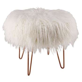 LOEN Copper Metal And White Faux Fur Stool (H40 x W45 x D45cm)
