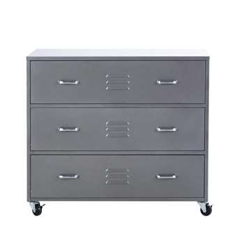 LOFT Grey metal chest of drawers on wheels (85 x 95cm)