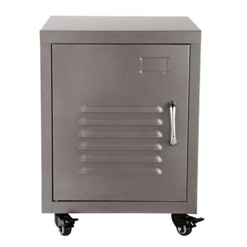 LOFT Metal bedside table on castors in grey (50 x 37cm)