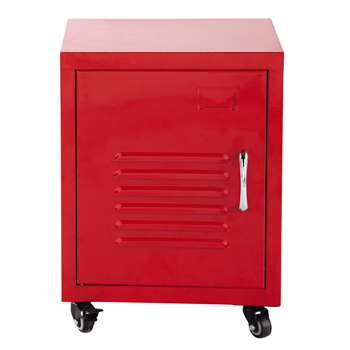 LOFT Metal bedside table on castors in red (50 x 37cm)