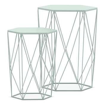 LOFT Wire Nest of Tables, Light Mint (H48 x W40 x D40cm)
