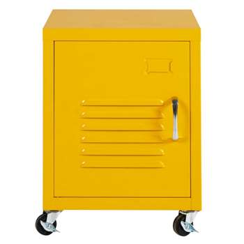 LOFT Yellow Metal Bedside Table on Wheels (H50 x W37 x D32cm)