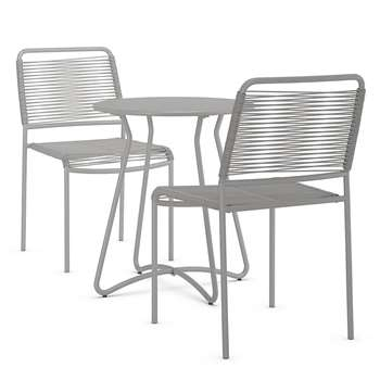 Lois Bistro Table & 2 Chairs Set, Grey (H75 x W64 x D64cm)