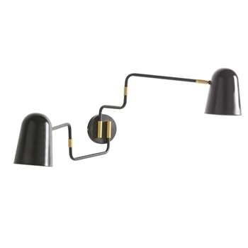 LOIS - Black and Gold Metal Double Adjustable Wall Lamp (H34 x W120 x D12cm)