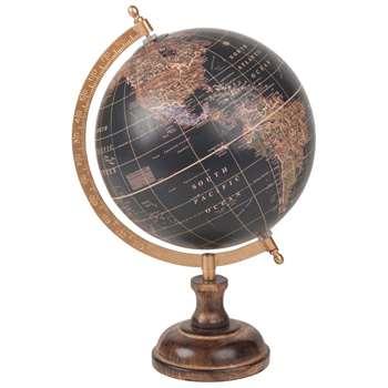 LOISANCE Black Mango Wood Globe (H34 x W20 x D20cm)