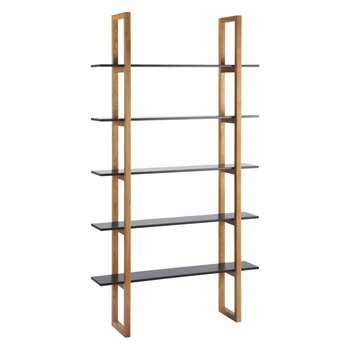 Loki Black 5 shelf bookcase 200 x 110cm