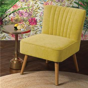 Lola Oyster Mustard Yellow Retro Chair (H81 x W57 x D65cm)