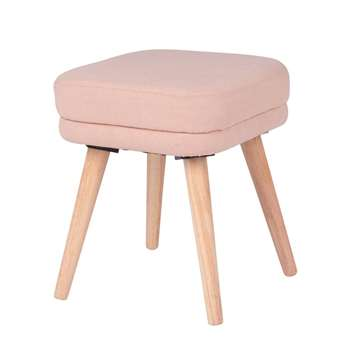 LOLA - Pink and Rubber Wood Stool (H42 x W35 x D35cm)