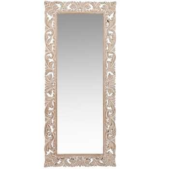 LOMBOK - Carved Mango Wood Mirror (H130 x W54 x D3.5cm)