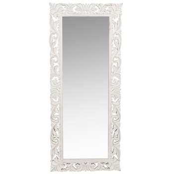 LOMBOK - Carved White Mango Wood Mirror (H130 x W54 x D3.5cm)