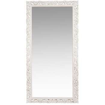 LOMBOK - Carved White Mango Wood Mirror (H180 x W90 x D3.5cm)