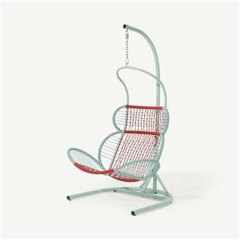 Lombre Garden Hanging Chair, Multi Woven Red & Pale Blue (H183 x W121 x D110cm)