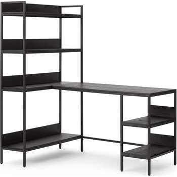 Lomond Adjustable Corner Desk, Brushed Charcoal Black & Mango Wood (H159 x W141 x D99cm)