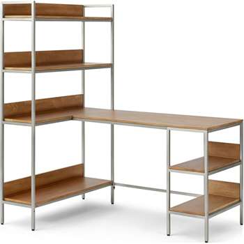 Lomond Adjustable Corner Desk, Honey Mango Wood & Brushed Steel (H159 x W141 x D99cm)