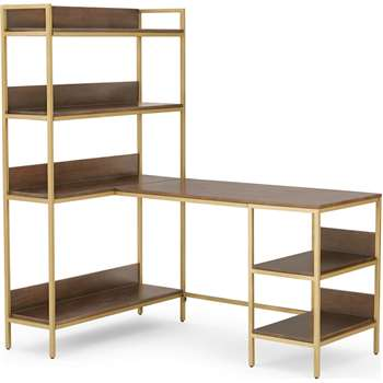 Lomond Adjustable Corner Desk with Shelves, Dark Mango Wood and Brass (H159 x W141 x D99cm)