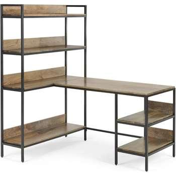Lomond Adjustable Corner Desk with Shelves, Mango Wood and Black (H159 x W141 x D99cm)