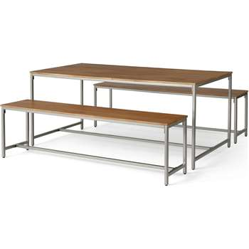 Lomond Dining Table and Bench Set, Honey Mango Wood & Brushed Steel (H76 x W180 x D90cm)