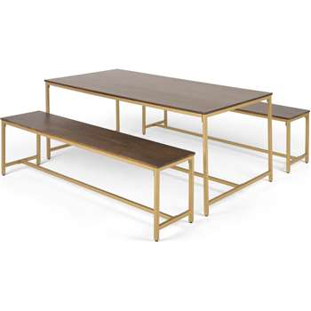 Lomond Dining Table and Bench Set, Mango Wood And Brass (H76 x W180 x D90cm)