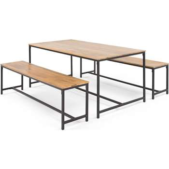 Lomond Dining Table Set, Mango Wood and Black (50 x 172cm)