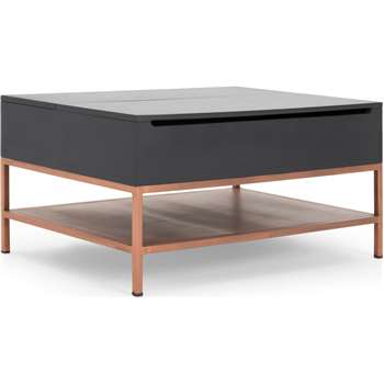Lomond Lift Top Coffee Table with Storage, Grey and Copper (H45 x W90 x D65cm)
