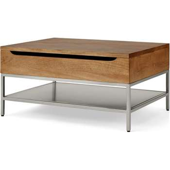 Lomond Lift Top Coffee Table with Storage, Honey Mango Wood & Brushed Steel (H45 x W90 x D65cm)