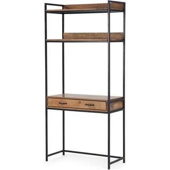 Lomond Modular functional desk, Mango Wood and Black (H188 x W86 x D40cm)