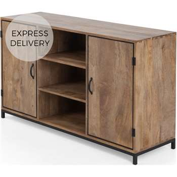 Lomond Sideboard, Black and Mango Wood (H77 x W129 x D40cm)