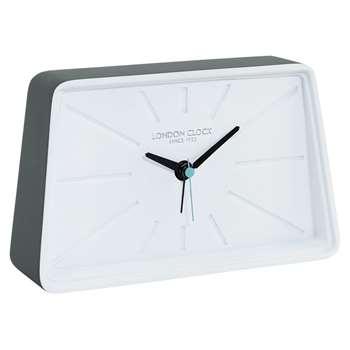 London Clock Company Alarm Clock, White/Grey (H11 x W18 x D4.5cm)