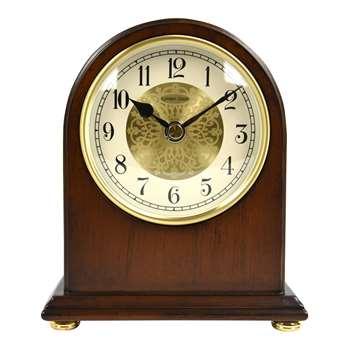 London Clock Company Arch Top Mantel Solid Wood Clock, Walnut (H17 x W14 x D6cm)