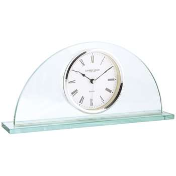 London Clock Company Glass Half Moon Mantel Clock, Clear (H16 x W34 x D6cm)