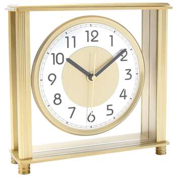 London Clock Company Large Dial Mantel Clock,  Brushed Champagne (H20 x W20 x D6cm)