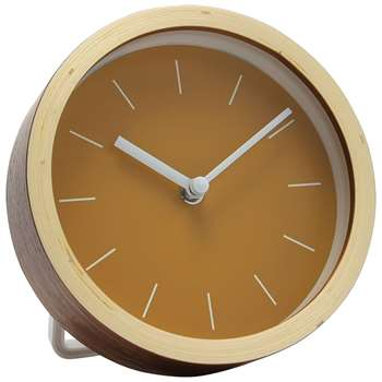 London Clock Company Plywood Mantel Clock, Dia.16cm, Natural/Sulphur (H16.5 x W16 x D10cm)