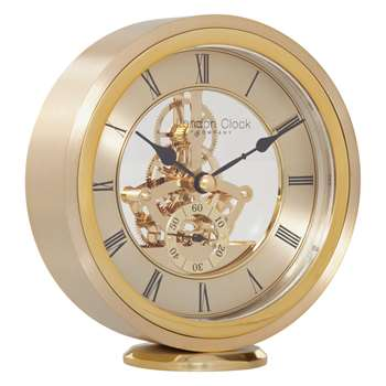 London Clock Company Round Carriage Clock, Gold (H14.5 x W13 x D4cm)