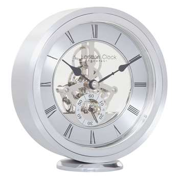 London Clock Company Round Carriage Clock, Silver (H14.5 x W13 x D4cm)
