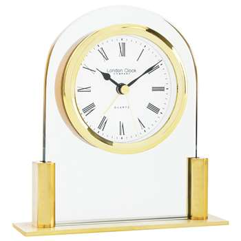 London Clock Company Small Arch Top Mantel Clock, Gold (H12.5 x W12 x D3.5cm)