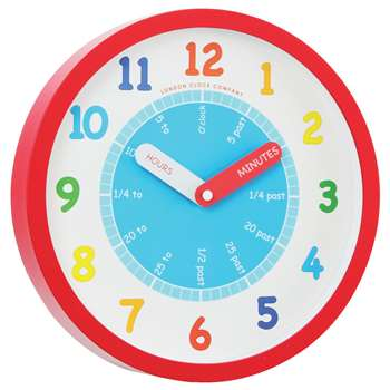 London Clock Company Tell The Time Children's Wall Clock, Red (H25 x W25 x D4cm)