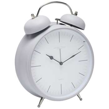 London Clock Company Twin Bell Alarm Clock, Matte Grey (H29.5 x W23 x D8cm)