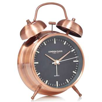 London Clock - Copper Alarm Clock (H17.5 x W11.5 x D5.5cm)