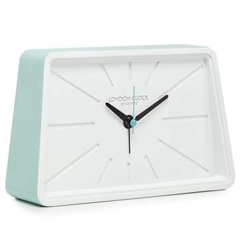 London Clock - Pale Green And White Alarm Clock (H11 x W18 x D4.5cm)