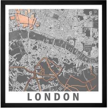 London Graphic Map, Framed Print (50 x 50cm)